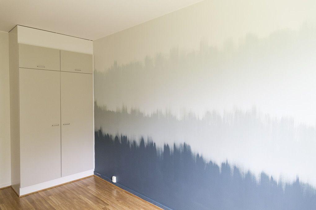 Seinän maalaus on mukavaa, kun leikittelet väreillä.